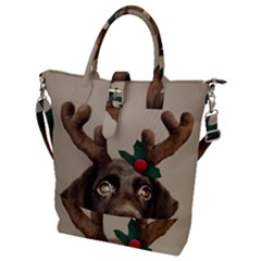 Christmas Dog Buckle Top Tote Bag