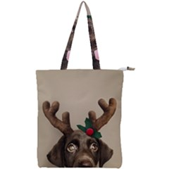 Christmas Dog Double Zip Up Tote Bag
