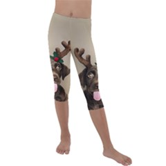 Christmas Dog Kids  Lightweight Velour Capri Leggings