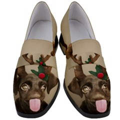 Christmas Dog Women s Chunky Heel Loafers