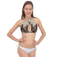 Christmas Dog Cross Front Halter Bikini Top