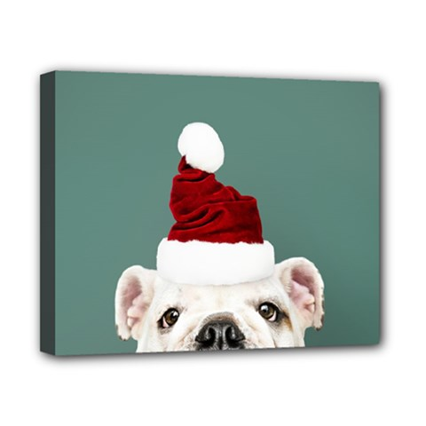 Santa Dog Canvas 10  X 8  (stretched)