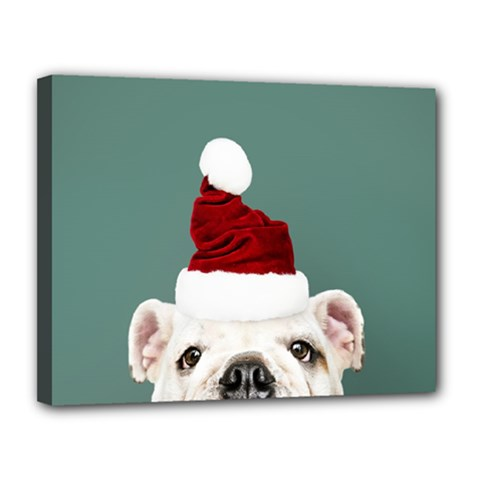 Santa Dog Canvas 14  X 11  (stretched)