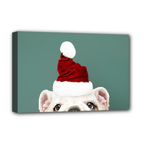 Santa Dog Deluxe Canvas 18  X 12  (stretched)