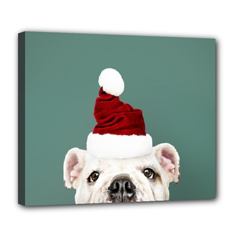 Santa Dog Deluxe Canvas 24  X 20  (stretched)