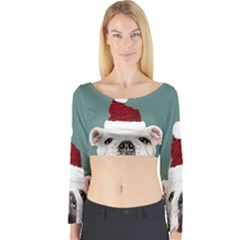 Santa Dog Long Sleeve Crop Top