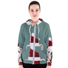 Santa Dog Women s Zipper Hoodie