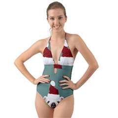 Santa Dog Halter Cut Out One Piece Swimsuit