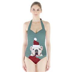 Santa Dog Halter Swimsuit