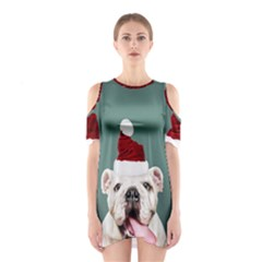 Santa Dog Shoulder Cutout One Piece Dress
