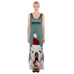 Santa Dog Thigh Split Maxi Dress