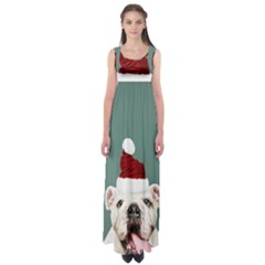Santa Dog Empire Waist Maxi Dress