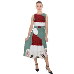 Santa Dog Midi Tie Back Chiffon Dress
