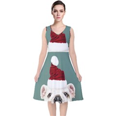 Santa Dog V Neck Midi Sleeveless Dress