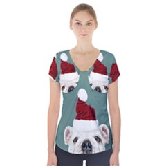Santa Dog Short Sleeve Front Detail Top