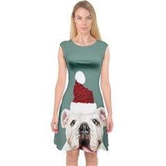 Santa Dog Capsleeve Midi Dress