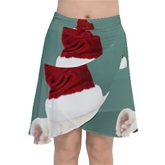 Santa Dog Chiffon Wrap Front Skirt