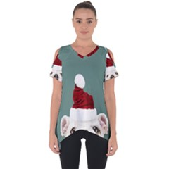 Santa Dog Cut Out Side Drop Tee