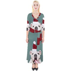 Santa Dog Quarter Sleeve Wrap Maxi Dress
