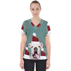 Santa Dog Women s V Neck Scrub Top