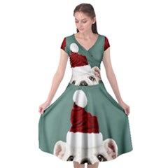 Santa Dog Cap Sleeve Wrap Front Dress