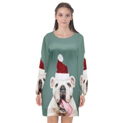 Santa Dog Long Sleeve Chiffon Shift Dress