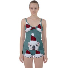 Santa Dog Tie Front Two Piece Tankini