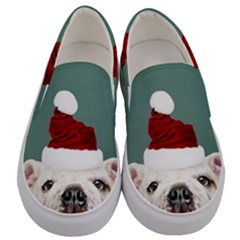 Santa Dog Men s Canvas Slip Ons