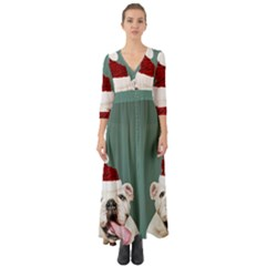 Santa Dog Button Up Boho Maxi Dress