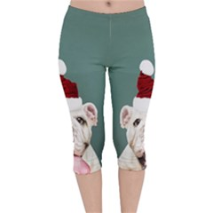 Santa Dog Velvet Capri Leggings