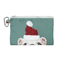 Santa Dog Canvas Cosmetic Bag (medium)