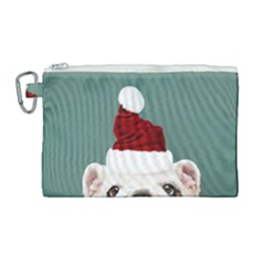 Santa Dog Canvas Cosmetic Bag (large)