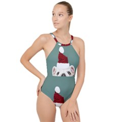 Santa Dog High Neck One Piece Swimsuit