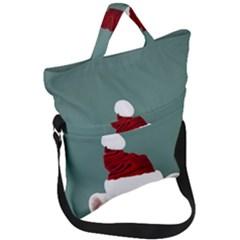 Santa Dog Fold Over Handle Tote Bag