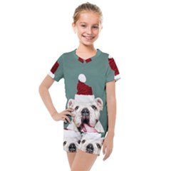 Santa Dog Kids  Mesh Tee And Shorts Set