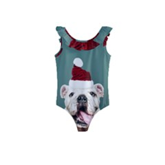 Santa Dog Kids  Frill Swimsuit