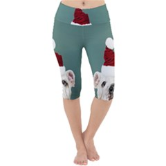 Santa Dog Lightweight Velour Cropped Yoga Leggings