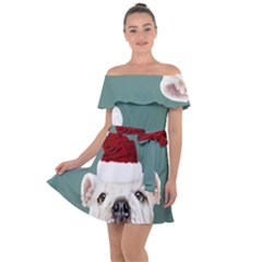 Santa Dog Off Shoulder Velour Dress