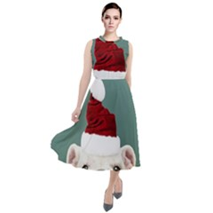 Santa Dog Round Neck Boho Dress