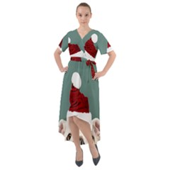 Santa Dog Front Wrap High Low Dress