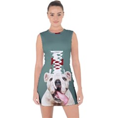 Santa Dog Lace Up Front Bodycon Dress