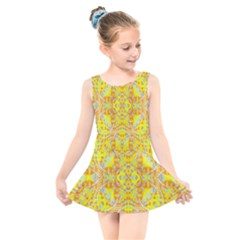 Vivid Warm Ornate Pattern Kids  Skater Dress Swimsuit by dflcprintsclothing