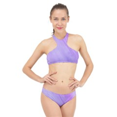 Purple Shade High Neck Bikini Set