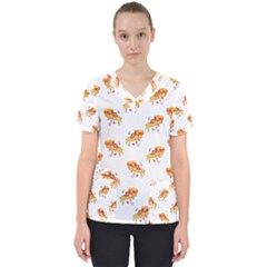 Pizza Pattern Women s V Neck Scrub Top