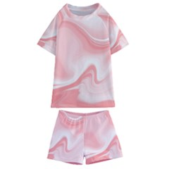 Pink Marble Print Kids  Swim Tee And Shorts Set by designsbymallika