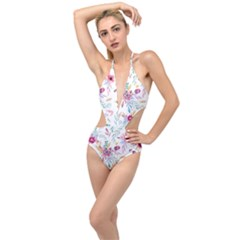 Pink Floral Print Plunging Cut Out Swimsuit by designsbymallika