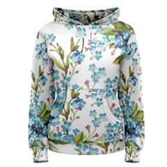 Blue Floral Print Women s Pullover Hoodie