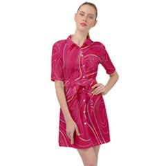 Pink Golden Lines Belted Shirt Dress