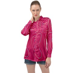 Pink Golden Lines Long Sleeve Satin Shirt