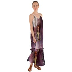 Little Fairy On A Swing With Dragonfly In The Night Cami Maxi Ruffle Chiffon Dress